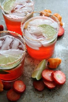 Strawberry Habanero Margarita by Heather Christo Creswell Creswell Christo for Cinco De Mayo! Party Drinks, Cocktail Drinks, Cocktail Recipes, Drink Recipes, Margarita Cocktail, Comida Latina, Allergy Free Recipes, Margarita Recipes, Latin Food