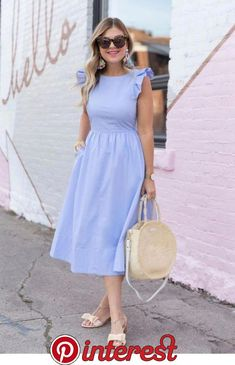 Nice light blue dress with retro details   Popular Ladies