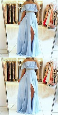 A-Line Off the Shoulder Split Front Blue Chiffon Prom Dress with Beading Belt so. - - A-Line Off the Shoulder Split Front Blue Chiffon Prom Dress with Beading Belt sold by Fantasy on Storenvy Source by Pretty Prom Dresses, Prom Dresses Blue, Ball Dresses, Elegant Dresses, Cute Dresses, Sexy Dresses, Summer Dresses, Wedding Dresses, Chiffon Prom Dresses