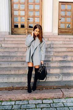 oversized coat + boots