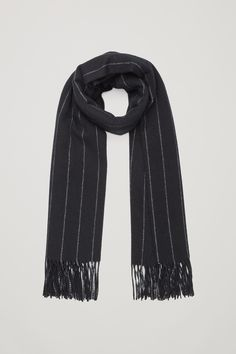 COS image 1 of Striped wool-cashmere scarf  in Black