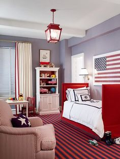 Red White Blue Boy S Bedroom Design With Lilac Walls Paint Color Twin Bed Monogrammed Bedding