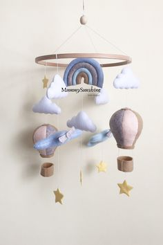 Boy Mobile, Felt Mobile, Baby Crib Mobile, Gifts For New Mothers, Flower Mobile, Adventure Nursery, Newborn Toys, Bebe Baby, Hanging Mobile