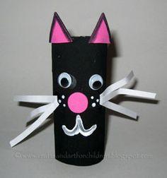 oilet Paper Tube Black Cat #HalloweenCrafts #recycledcraft