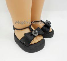 "18"" american girl dolls shoes sandals ""Dalhias"" in black. $10.00, via Etsy."