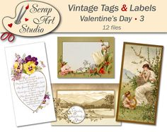Tags and labels valentine's day printable vintage picture love flower heart decor gift antique watercolour art printable card vintage design