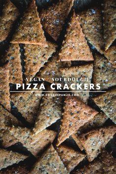 Vegan Sourdough Pizza Crackers - Cook Republic #starterdiscard #sourdoughrecipe #veganpizza