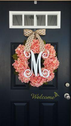 Spring Wreath, Hydrangea Wreath, Monogram Wreath, Summer Wreath, Coral Pink, Front Door Wreath, Mother's Day, Wedding Decor, Floral Wreath by SimplySundayShop on Etsy https://www.etsy.com/listing/265300319/spring-wreath-hydrangea-wreath-monogram