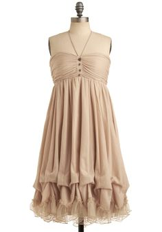 Bunches of Love Dress - Cream, Solid, Buttons, Ruffles, Casual, Empire, Strapless, Halter, Long