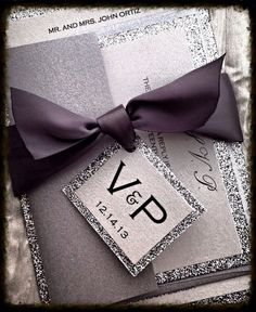 Silver  Glitter Wedding Invitation and RSVP Set ribbon monogram