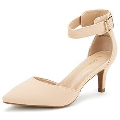 ccc055712fbd DREAM PAIRS LOWPOINTED New Womens Evening Dress Low Heel Ankle Strap Dorsay  Pointed Toe Wedding Pumps