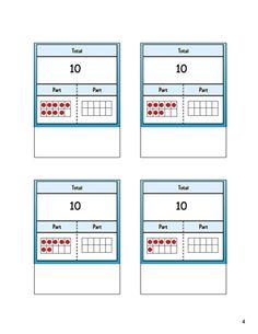 part part task cards Kindergarten Math, Teaching Math, Maths, Ten Frame Activities, Math Activities, Math Manipulatives, Numeracy, Math Addition, Addition And Subtraction
