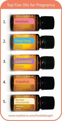 Top 5 essential oils for pregnancy, doTERRA, geranium, roman chamomile, grapefruit, lavender, ylang ylang
