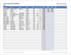 Use this Grocery Price Book template by Vertex42.com to save money by tracking grocery prices and buying when the price is good.