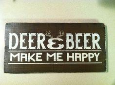 Deer And Beer Make Me Happy 12 In. X 6 In. Rustic Wood Sign, Hunting Sign, Man…