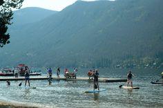 People learning to paddle board at the Spirit of the Lake Regatta . . . www.stayingrandlake.com #Regatta #PaddleBoard #GrandLake #Colorado