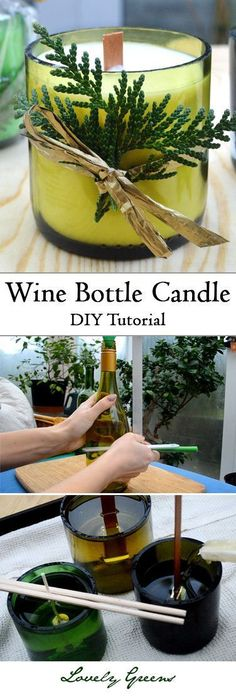 DIY Wine Bottle Candles is part of Diy candles - Learn how to use glass wine bottles to make creative and beautiful candles Includes tips on cutting the bottle and filling it with soy wax & a wooden wick Wine Craft, Wine Bottle Crafts, Bottle Art, Wine Bottle Decorations, Wine Decor, Beer Bottle, Wine Bottle Candles, Bottles And Jars, Glass Bottles