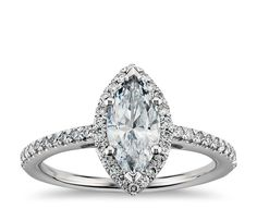 HONEY, I LIKE THIS ONE  . . . . . .  . . HINT......Marquise Cut Halo Diamond Engagement Ring in 14k White Gold