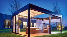 Pérgola de diseño tipo cenador, excelente opción si desea tener una nueva zona exclusiva y vanguardista en su hogar.