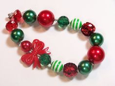 Girls Chunky Necklace, Christmas, Red, Green, Holiday, Bubblegum Bead Necklace, Chunky Necklace, Childrens Necklace. $23.00, via Etsy.