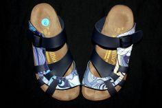 e167b080afbd0 Papillio Birkenstock Sandals FUSSBELT sz 36 EUR 6 US Multi-Color Blue  Leather Birkenstock Sandals