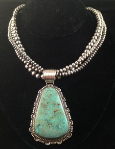 Navajo Handmade Cripple Creek Turquoise Sterling Silver Pendant Navajo Pearls | eBay