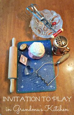 Dramatic play in Grandma's kitchen with these cool vintage kitchen items and candy-cane play dough!