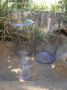 3 french vintage Jars, antique blowned glass , 19th Glass de la boutique VintagedeFrance sur Etsy
