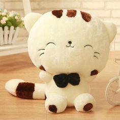 45CM Cute Big Face Smiling Cat Plush Doll Cushion Fortune Cat Stuffed Toys -- BuyinCoins.com