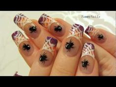 Spiderweb on Purple and Orange Glitter Halloween Design Nail Art Tutorial… – Embroidery Glitter Gradient Nails, Purple Acrylic Nails, Silver Glitter Nails, Orange Glitter, Glitter Nail Art, Purple Nails, Nail Bling, Halloween Designs, Halloween Nail Art