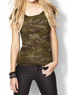 Green Camouflage Short Sleeve Elastic T-Shirt