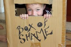 Box of Shame-  Great for little kids party ideas.  When you play a game, the losing person has to go in the Box of Shame for the rest of the game! How cute!