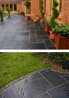 How beautiful are these? They are our Livingstone Antique Welsh Midnight Flooring Flagstones. Stunning flagstones with charcoal carbon… Garden Slabs, Patio Slabs, Concrete Patio, Pergola Patio, Diy Patio, Backyard Patio, Patio Ideas, Garden Ideas, Stone Patio Designs