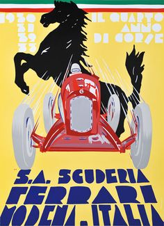 Scuderia Ferrari poster celebrating some of the team's Grand Prix victories