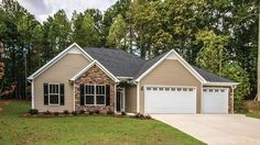 Floor Plan AFLFPW77520 is a beautiful 1635 square foot  Ranch  home design with 3 Garage Bays