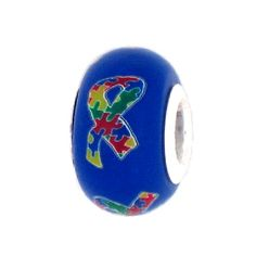 Autism Awareness Puzzle Ribbon Jewelry Bead for Add-A-Bead Charm Bracelets via Etsy
