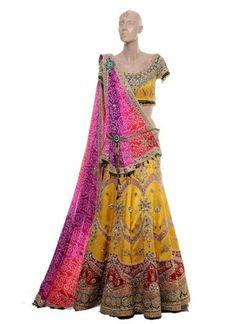 Traditional Yellow Embroidered Lehenga