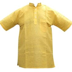 Mogul Mens Kurta Banded Collar Solid Color Yellow Shirt (1,555 INR) via Polyvore featuring mens, men's clothing, men's shirts and men's casual shirts