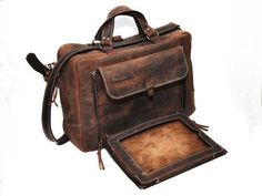"""Horatius Convertible Leather Briefcase (Need 13"""" dimensions)"""