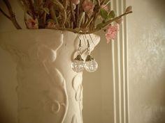 Gorgeous Clear Crackle Glass Drop Earrings by YouniquelyElegant, $6.95 #jewelry, #earrings, #dangleearrings