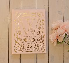 Pink & Gold Foil Wedding Guest Book Rose Gold by PaperPeachShop