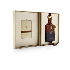 The box was crafted using complex rigid board construction, and is wrapped in… Luxury Packaging, Design Packaging, John Walker, Custom Boxes, Innovation Design, Wood Grain, Booklet, Whisky, Whiskey Bottle
