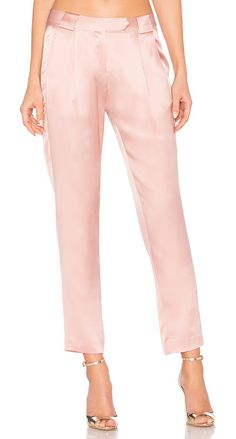"""Pleat Trouser by Michelle Mason. Self & Lining: 100% silk. Dry clean only. Hook and bar front closure. Side slit pockets. 16"""""""" at the knee narrows to ..."""