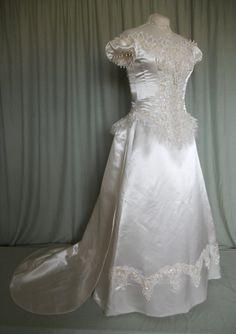 JANUARY SALE - Neo Victorian Style Cream Satin Wedding Dress. $650.00, via Etsy.