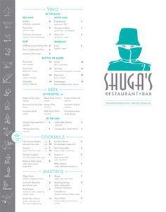 Menu Design: Shuga's in Colorado Springs, Colorado. I love the origami instructions down the left side!