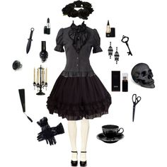 Gothic Lolita by conquistadorofsorts on Polyvore featuring River Island, HUGO, L'Objet and vintage
