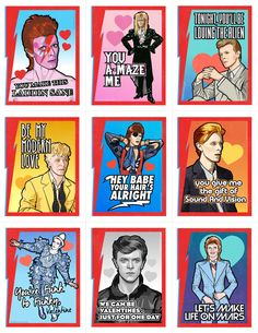 """The Bowie Valentine's Day Card Pack is perfect for sharing with your loved ones, friends and coworkers on Valentine's Day! Each 8.5""""x 11"""" sheet includes these 9 different tear-awa..."""