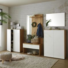 Garderobenbank Weiß Eichenfarbe online bestellen Oversized Mirror, Furniture, Home Decor, Drawers, Oak Tree, Colors, Interior Design, Home Interior Design, Arredamento