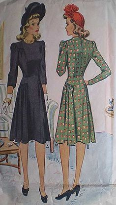 Vintage 40s Puff Sleeve Dress Pattern 32 1941 | eBay