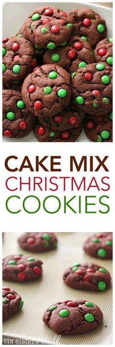 Cake Mix Christmas Cookies - Six Sisters' Stuff Desserts Köstliche Desserts, Holiday Baking, Christmas Desserts, Christmas Treats, Christmas Baking, Dessert Recipes, Christmas Christmas, Christmas Parties, Xmas Holidays